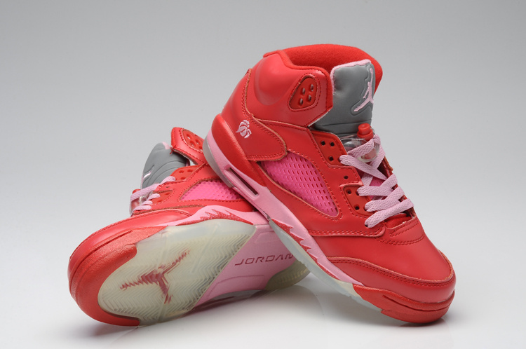 Classic Valentine Air Jordan 5 Original Red Pink For Women