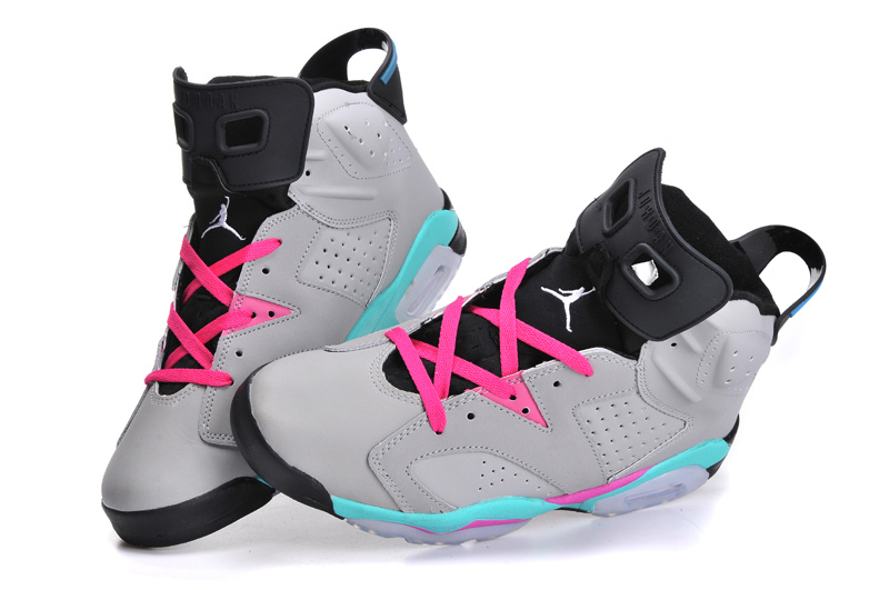 Classic Women And Men Air Jordan 6 Original Grey Black Pink