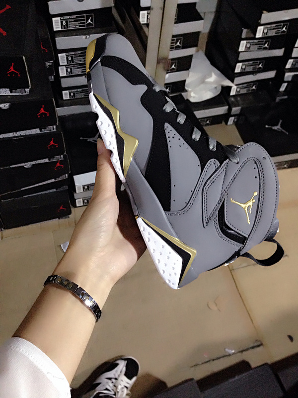 Grey Gold Jordans 7 Shoes For Women