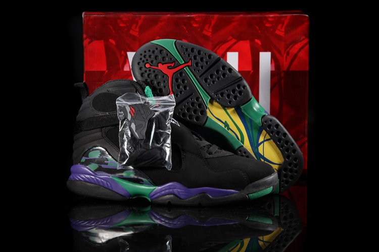 Hardback Original Jordans 8 Classic Black Green Purple