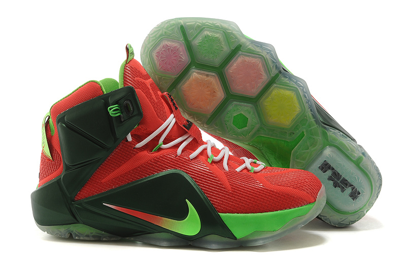 Hot Selling Nike Lebron 12 Red Black Green Basketball Shoes