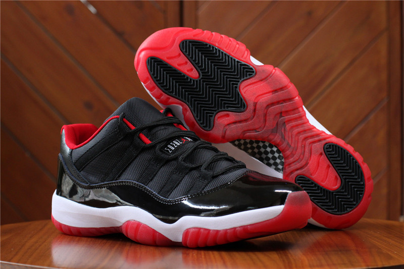 Jordans 11 Low Black Red Retro Shoes