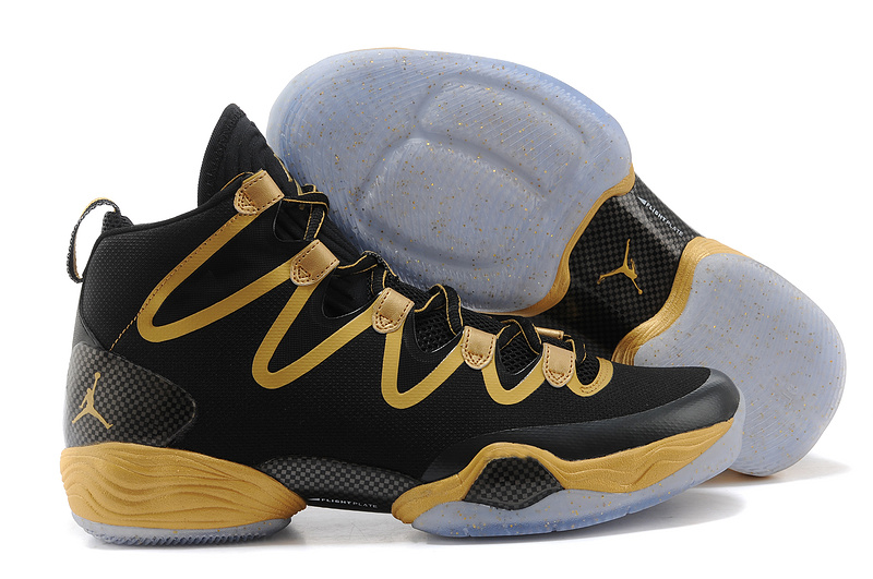 Jordans 28 Black Golden Basketball Shoes For Sale