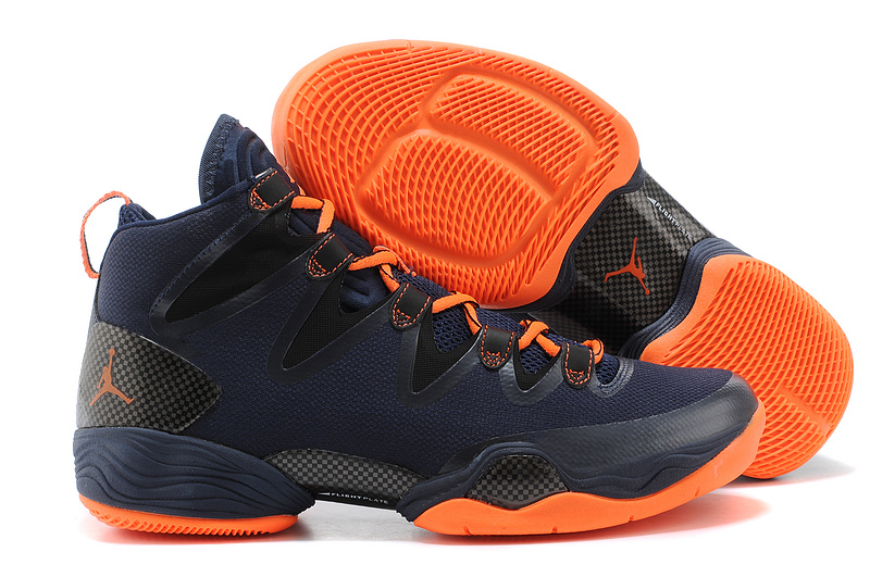 Jordans 28 Dark Blue Orange Basketball Shoes