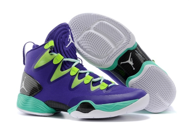 Jordans 28 Purple Green Basketball Shoes