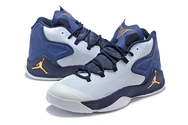 Jordans Anthony White Dark Blue Gloden Basketabll Shoes