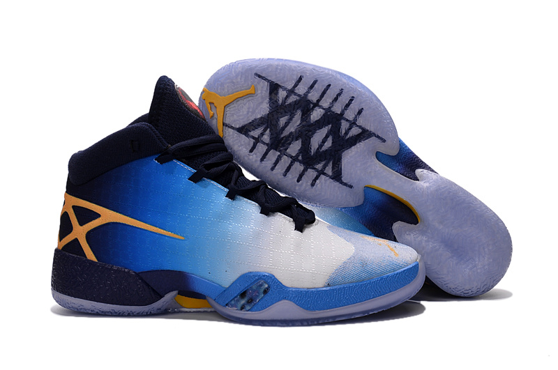 Jordans Westbrook White Blue Yellow Shoes For Sale