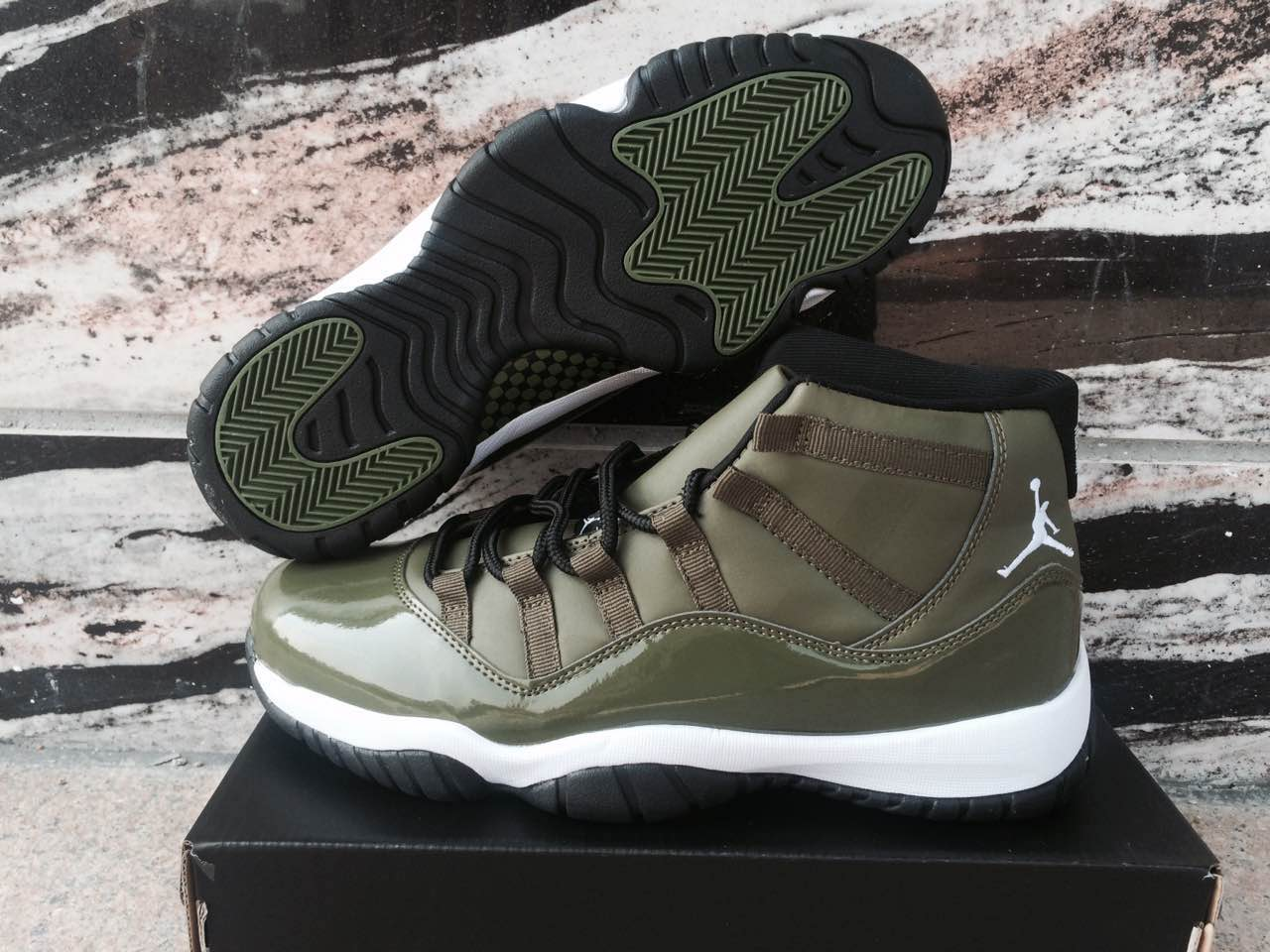 Jordans 11 Olive Green High Shoes