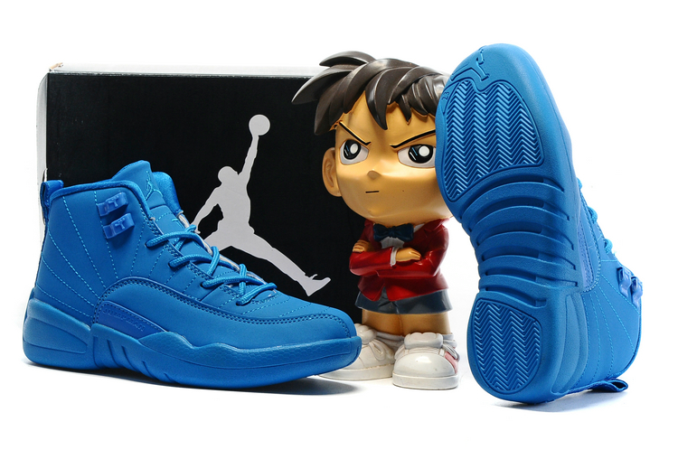 Jordans 12 All Blue Shoes For Kids