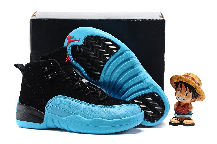 Jordans 12 Black Blue Shoes For Kids