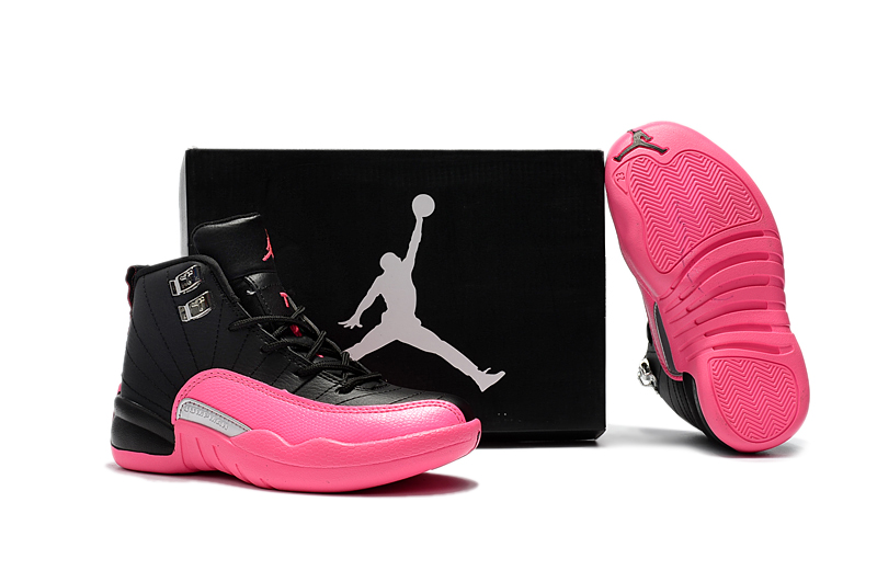 Jordans 12 Black Pink Shoes For Kids