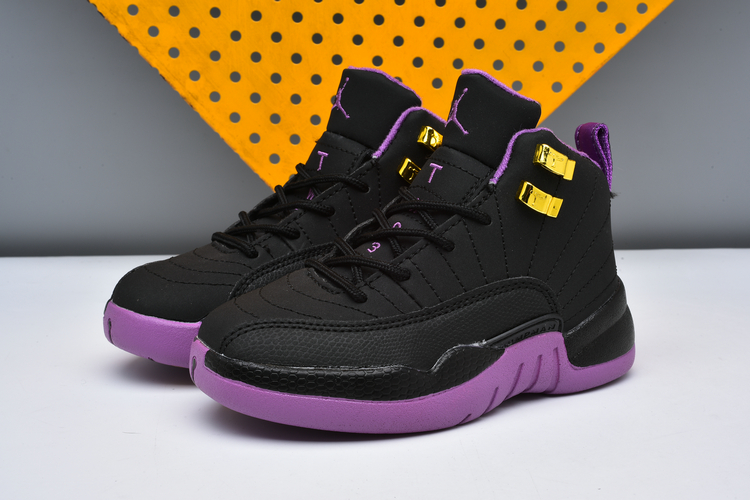 Jordans 12 Black Purple Shoes For Kids