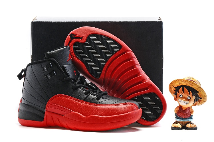 Jordans 12 Black Red Shoes For Kids