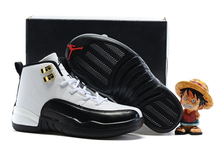 Jordans 12 Black White Shoes For Kids