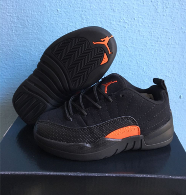Jordans 12 Low Black Red Shoes For Kids
