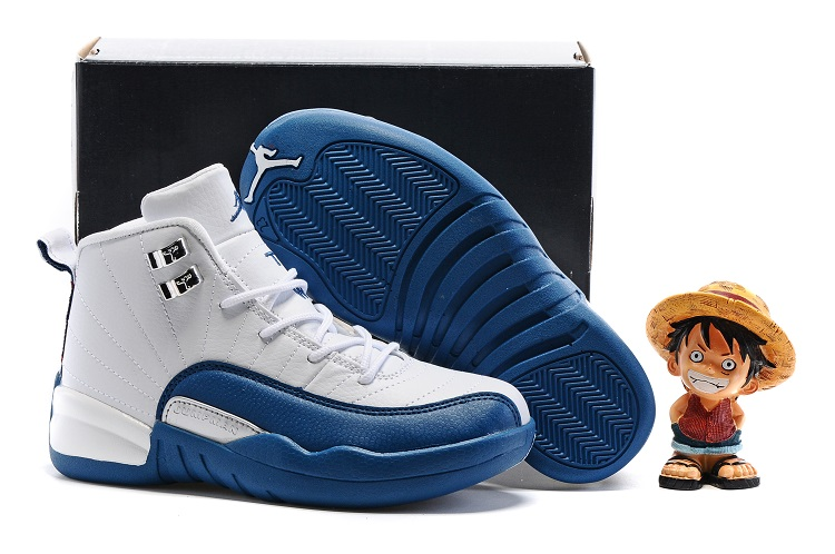 Jordans 12 White Blue Shoes For Kids