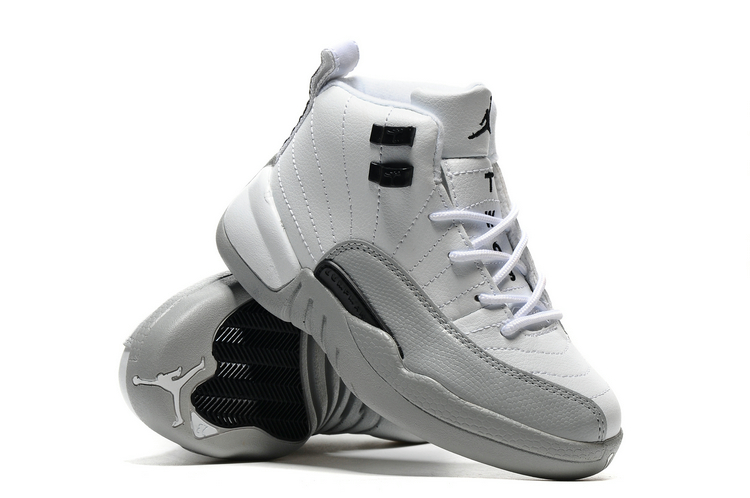 Jordans 12 White Grey Shoes For Kids