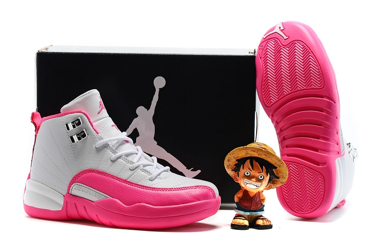 Jordans 12 White Pink Shoes For Kids
