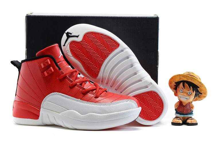 Jordans 12 White Red Shoes For Kids