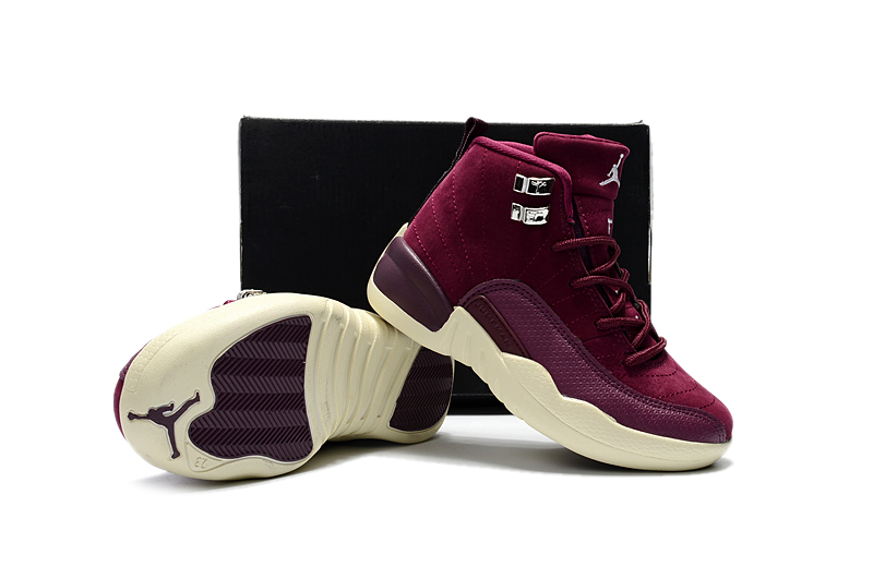 Jordans 12 Wine REd Shoes For Kids