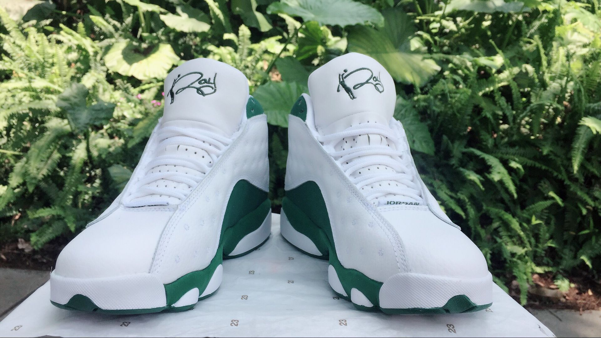 Jordans 13 White Green Real Eye Shoes