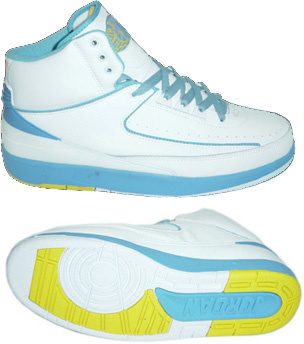 Jordans 2 Retro White Light Blue Yellow Chrome Shoes