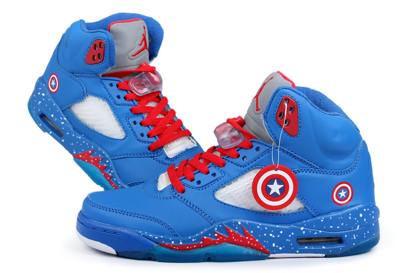 Jordans 5 Original Captain America Edition Retro Blue White Red