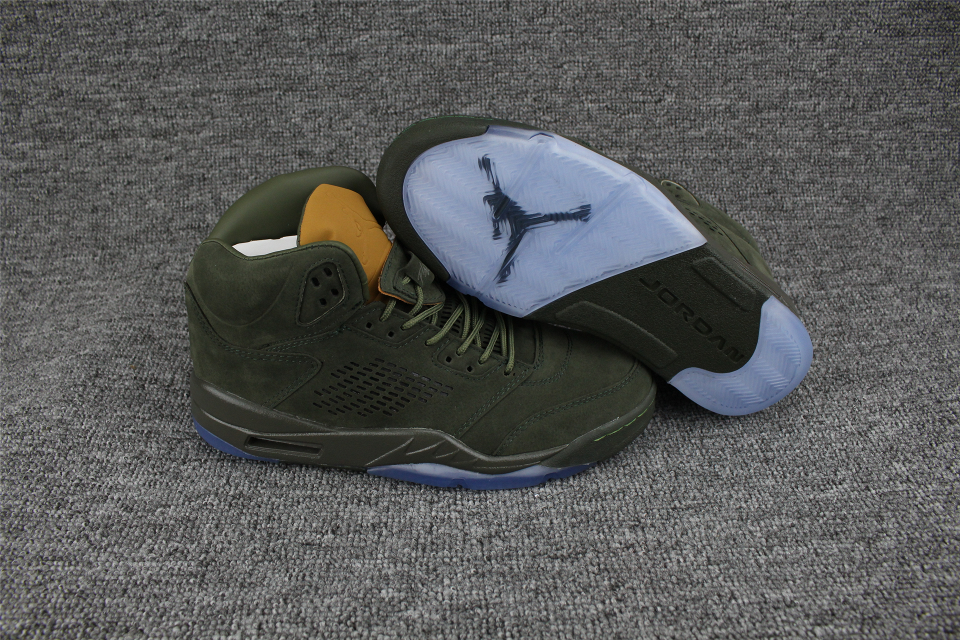 Jordans 5 PRM Take Flight Army Green Shoes