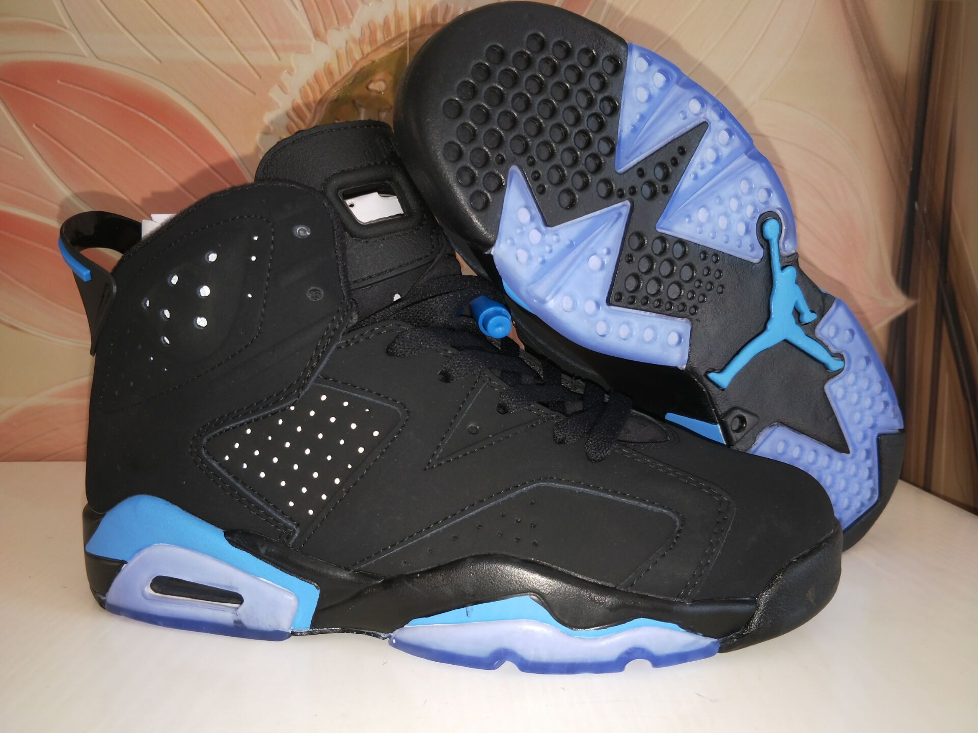 Jordans 6 Black Blue Steel Seal Shoes
