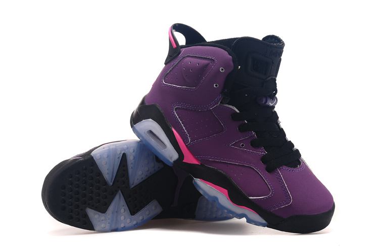 Jordans 6 Retro Grape Black Shoes For Women