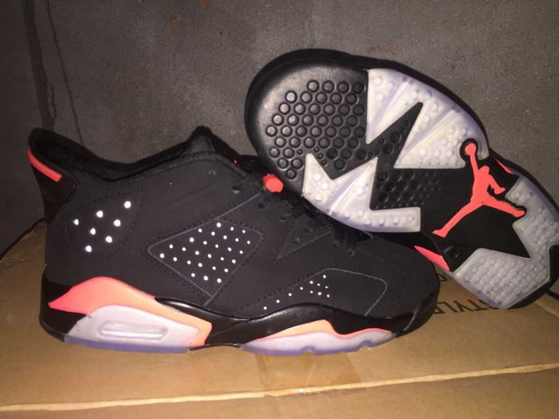 Jordans 6 Retro Low Cut Black Red Shoes For Women