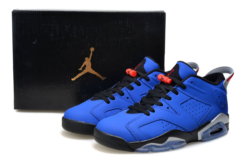 Jordans 6 Retro Low Cut Blue Black Shoes For Women