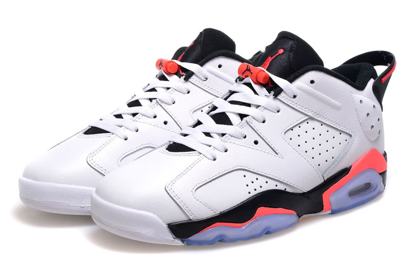 Jordans 6 Retro Low Cut White Black Pink Shoes For Women