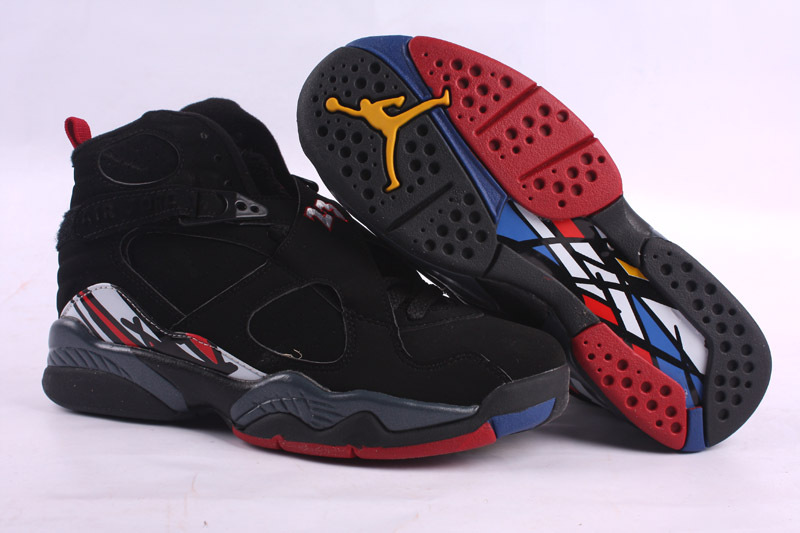 Jordans 8 Black Red Basketball Retro Shoes