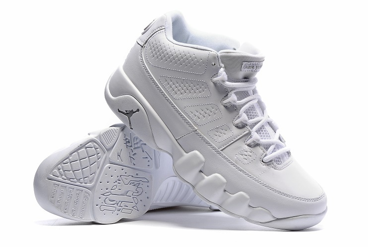 Jordans 9 Low All White Basketball Shoes