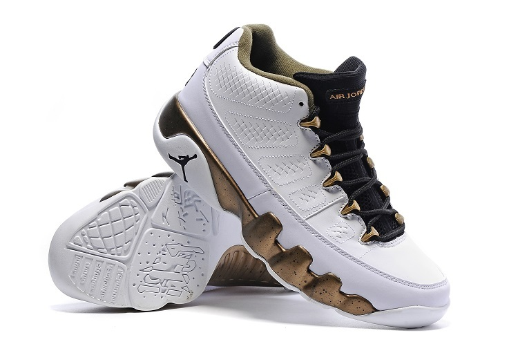 Jordans 9 White Gloden Basketball Shoes