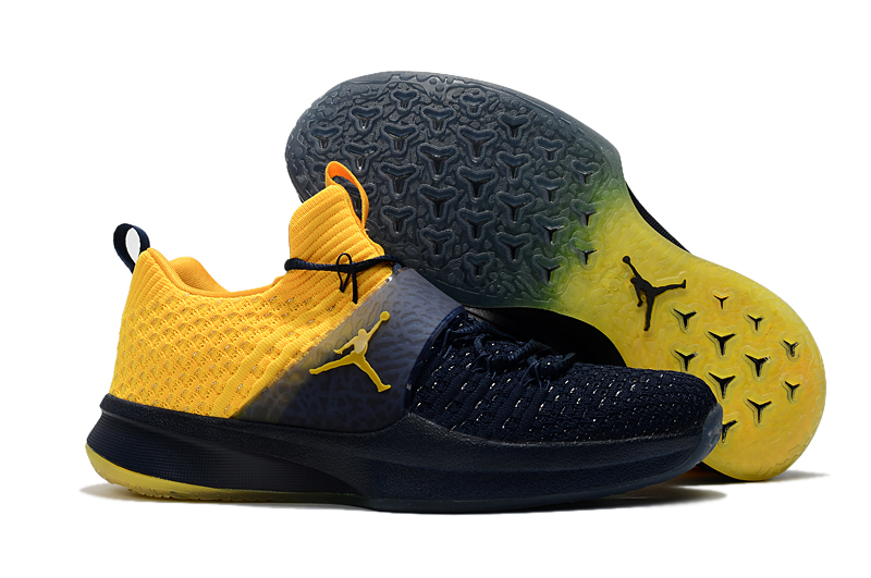 Jordans Trainer 2 Dark Blue Yellow Shoes