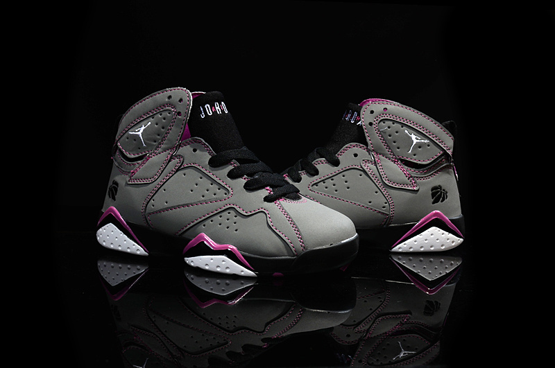 Kids Air Jordans 7 Grey Purple Black Baskebtall Shoes