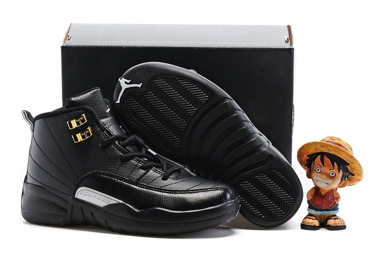 Kids Jordans 12 Black Gloden Buckle Shoes