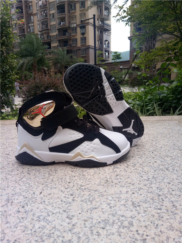 Kids Jordans 7 White Black Gloden Shoes
