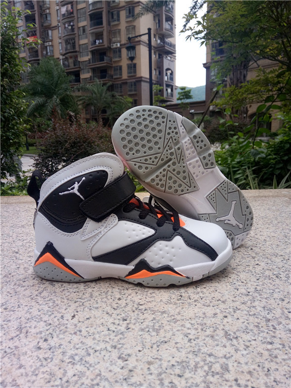 Kids Jordans 7 White Black Orange Shoes