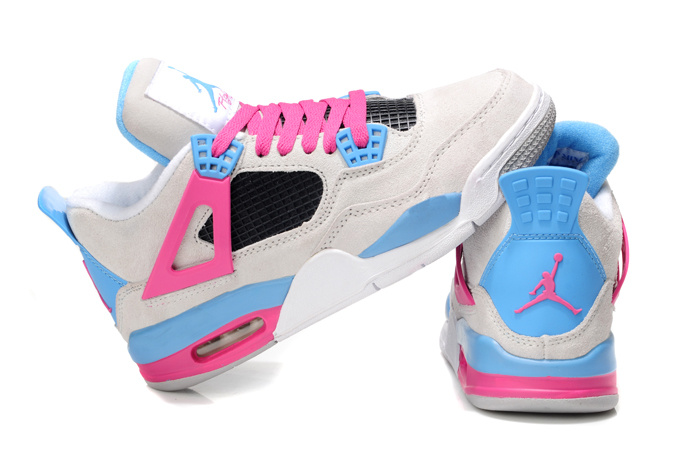 Latest Air Jordan 4 Original Wite Pink Blue For Women