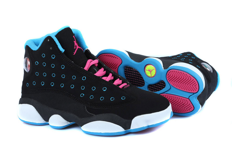 Latest Air Jordan 13 GS Original Black Blue Pink White For Women