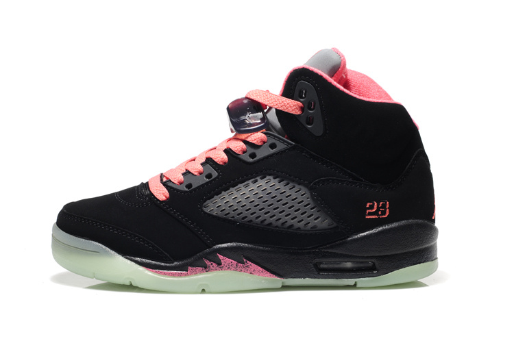 Latest Air Jordan 5 Midnight Original Black Pink For Women_12