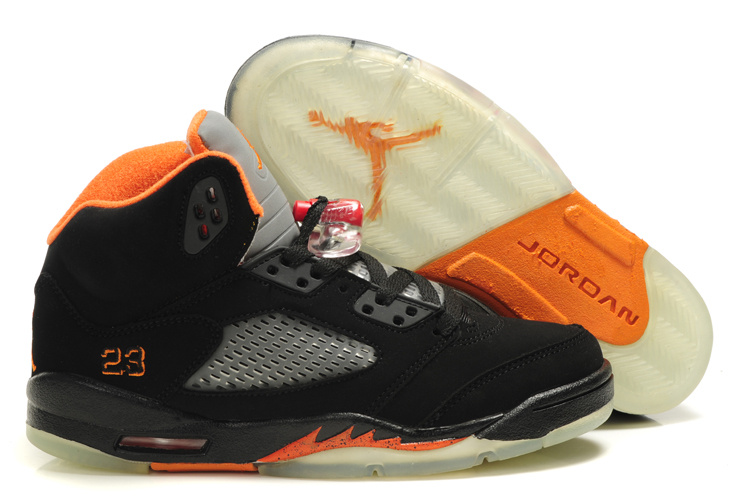 Latest Air Jordan 5 Retro Black Grey Orange For Women