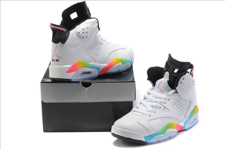 Latest Air Jordan 6 Classic White Colorful Black For Women_06