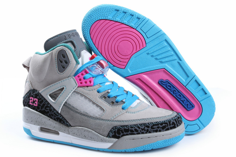 Latest Air Jordan Spizike Retro Grey Grey Blue For Women
