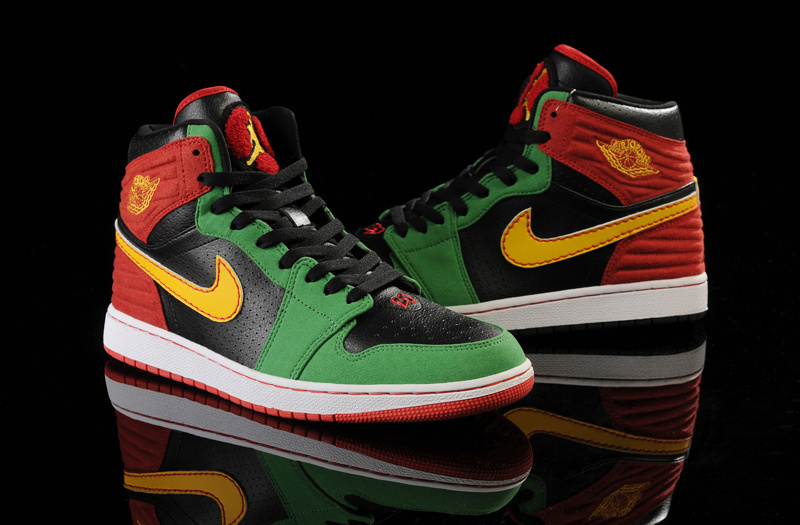 Latest Air Jordans 1 Classic 93 Black Green Red Yellow