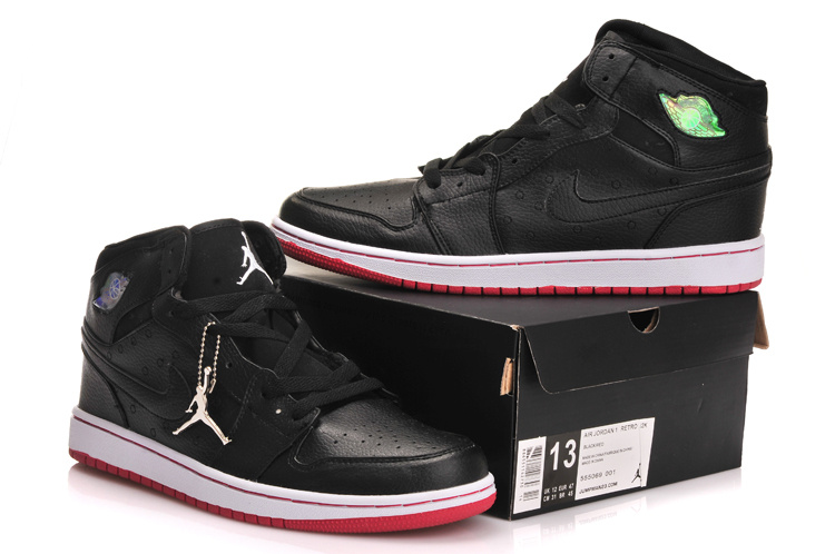 New Jordan 1 Retro All Black Red Shoes With Inserted Cushion