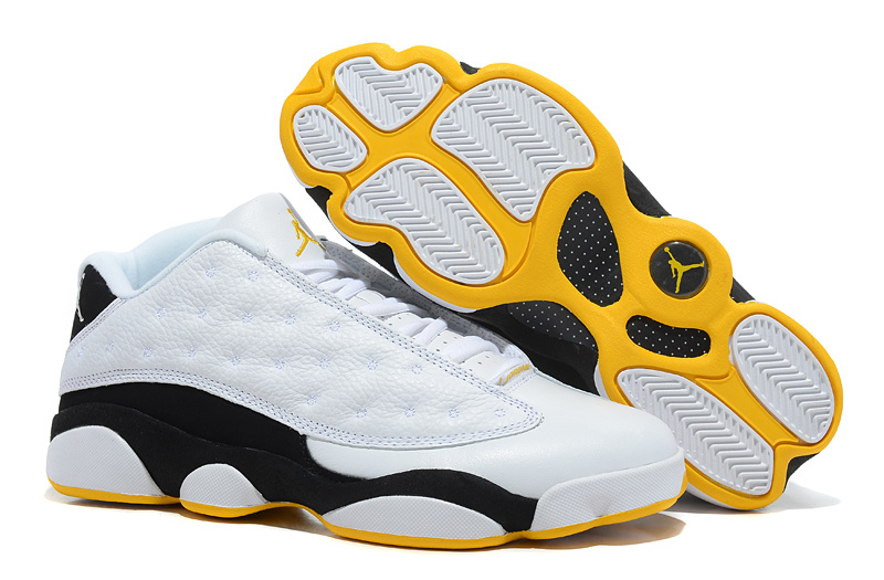 Latest Air Jordans 13 Low Classic White Black Yellow_13